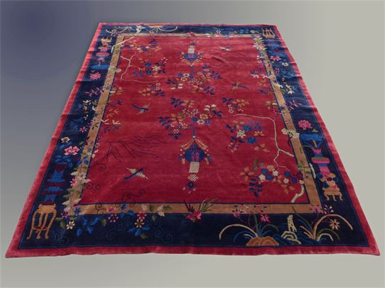 Item: #D071015 Antique Oriental Rug Chinese Art Deco Please inquire